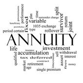 Annuity Word Cloud Concept in black and white — Stock Photo