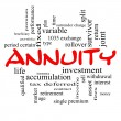 Stock Photo: Annuity Word Cloud Concept in red caps