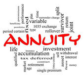 Annuity Word Cloud Concept in red caps — Stock Photo