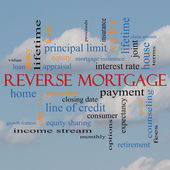 Reverse Mortgage Word Cloud Concept on a cloud background — Stock Photo