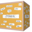 Stock Photo: Optimistic 3D cube Corkboard Word Concept