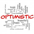 Optimistic Word Cloud Concept in red caps — Stock Photo #39212263