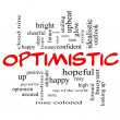 Stock Photo: Optimistic Word Cloud Concept in red caps