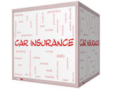 Car Insurance Word Cloud Concept on a 3D cube Whiteboard — Stock Photo