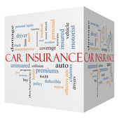 Car Insurance 3D Cube Word Cloud Concept — Stock Photo