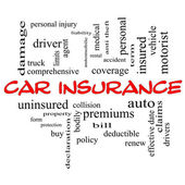 Car Insurance Word Cloud Concept in red caps — Stock Photo
