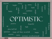 Optimistic Word Cloud Concept on a Blackboard — Stock Photo