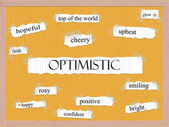 Optimistic Corkboard Word Concept — Stock Photo