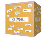 Optimistic 3D cube Corkboard Word Concept — Stock Photo