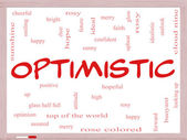 Optimistic Word Cloud Concept on a Whiteboard — Stock Photo
