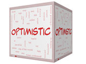 Optimistic Word Cloud Concept on a 3D cube Whiteboard — Stock Photo