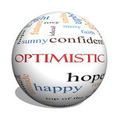Optimistic 3D sphere Word Cloud Concept — Stock Photo