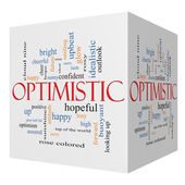 Optimistic 3D cube Word Cloud Concept — Stock Photo