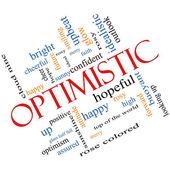 Optimistic Word Cloud Concept Angled — Stock Photo
