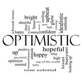 Optimistic Word Cloud Concept in black and white — Stock Photo