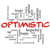 Optimistic Word Cloud Concept in red caps — Stock Photo