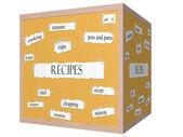Recept 3d kuben anslagstavlan ordet koncept — Stockfoto