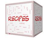 Ricette parola nuvola concetto su un 3d cubo lavagna — Foto Stock