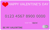 Happy Valentine's Day Credit Card — Stock Photo