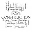 Home Construction Word Cloud Concept in black and white — Stock Photo #39353453