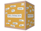 Huisbouw 3d-kubus prikbord woord concept — Stockfoto