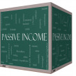 Passive Income Word Cloud Concept on a 3D cube Blackboard — Stock Photo #39487167