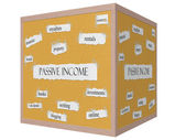 Passive Income 3D cube Corkboard Word Concept — Foto de Stock