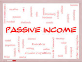 Passive Income Word Cloud Concept on a Whiteboard — Stock Photo