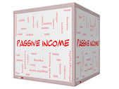 Passive Income Word Cloud Concept on a 3D cube Whiteboard — Stock Photo
