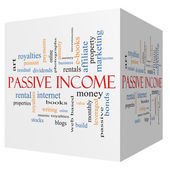 Passive Income 3D cube Word Cloud Concept — Foto de Stock