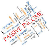 Passive Income Word Cloud Concept angled — Stock Photo