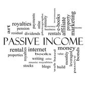 Passive Income Word Cloud Concept in black and white — Stock Photo