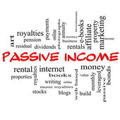 Passive Income Word Cloud Concept in red caps — Stock Photo