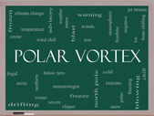 Polar Vortex Word Cloud Concept on a Blackboard — Stock Photo