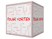 Polar Vortex Word Cloud Concept on a 3D cube Whiteboard — Stock Photo