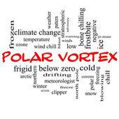 Koncepcja chmura słowo wiru polarnego w czerwone czapki — Zdjęcie stockowe