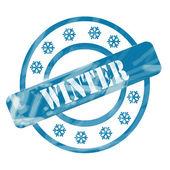 Azul invierno resistida sello en círculos y los copos de nieve — Foto de Stock