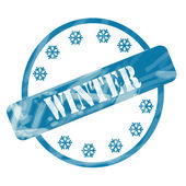 Blue Weathered Winter Stamp Circle and Snowflakes — Foto Stock