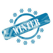 Blue Weathered Winter Stamp Circle and Snowflakes Design — Foto Stock