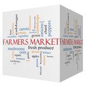 Farmers 3D cube Market Word Cloud Concept — Stock Photo