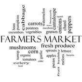 Farmers Market Word Cloud Concept in black and white — Stock Photo
