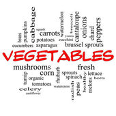 Vegetables Word Cloud Concept in red caps — Stock Photo