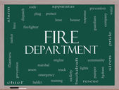 Fire Department Word Cloud Concept on a Blackboard — Stock Photo