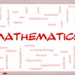 Foto Stock: Mathematics Word Cloud Concept on Whiteboard
