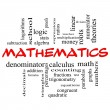 Foto Stock: Mathematics Word Cloud Concept in red caps