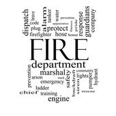 Fire Department Word Cloud Concept in black and white — Stock Photo