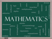 Mathematics Word Cloud Concept on a Blackboard — Stock Photo