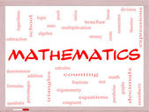 Mathematics Word Cloud Concept on a Whiteboard — Stock Photo
