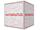 Mathematics Word Cloud Concept on a 3D cube Whiteboard — Stock Photo