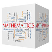 Mathematics 3D cube Word Cloud Concept — Stock Photo